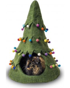 Dharma Dog Karma Cat Wool Pet Cave Holiday Tree Green
