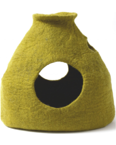 Dharma Dog Karma Cat Wool Pet Cave Purr-a-Boo Green Cat Bed