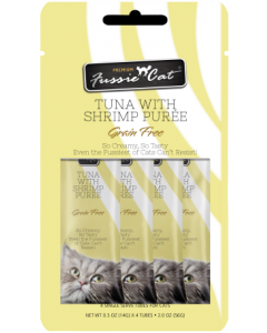 4pk Fussie Cat Tuna with Shrimp Puree Cat Treat .5oz