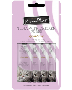 4pk Fussie Cat Tuna with Chicken Puree Cat Treat .5oz