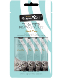 4pk Fussie Cat Tuna with Prawns Puree Cat Treat .5oz