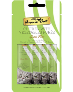 4pk Fussie Cat Chicken & Vegetables Puree Cat Treat .5oz