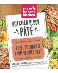 10.5oz Honest Kitchen Butcher Block Pate Beef & Cheddar