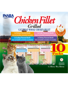 Inaba Grilled Fillets Chicken Fillet Variety Cat Treat 10 Packs of .52oz