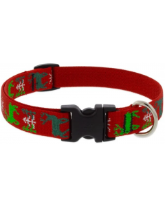 "Lupine Collar Happy Holidays Red 1/2"" 10-16"