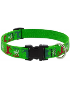 "Lupine Collar Happy Holidays Green 3/4""13-22"