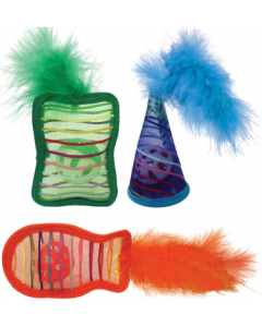 Multipet Mesh Shapes with Ball And Feather Cat Toy