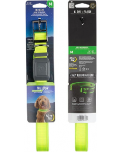 NightDog Rechargeable LED Collar Lime Green Medium