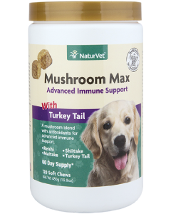 NaturVet 120ct Mushroom Max Advanced Immune Support