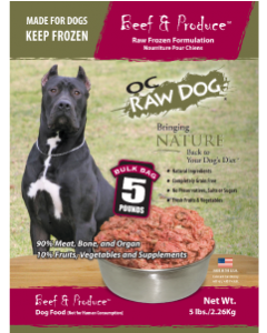 OC Raw Bulk Beef Produce Dog Food 5lb