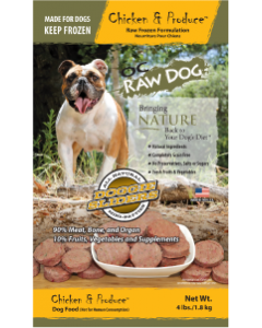 OC Raw Sliders Chicken Produce Dog Food 4lb
