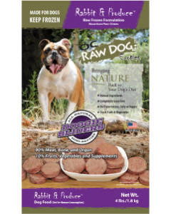 OC Raw Sliders Rabbit Produce Dog Food 4lb