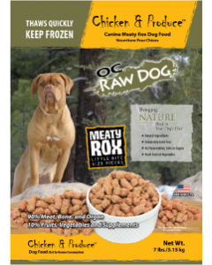 OC Raw Rox Chicken Produce Dog Food 7lb