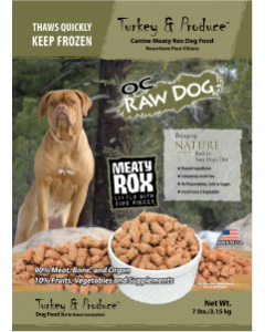 OC Raw Rox Turkey Produce Dog Food 7lb