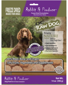 14oz Freeze Dried Rabbit Sliders Dog