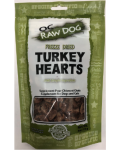4oz Oc Raw Freeze Dried Turkey Hearts Treats