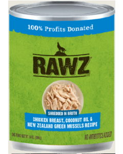 14oz Rawz Shreddded Chicken, Coconut Oil New Zealand Green Mussel Dog Food