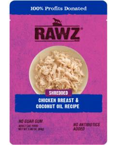 2.46oz Rawz Chicken Breast & Coconut Oil Cat Food Pouch