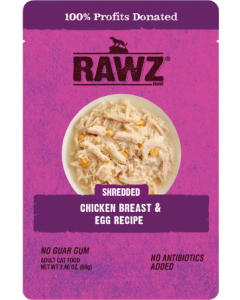 2.46oz Rawz Chicken Breast & Egg Cat Food Pouch