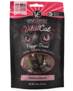 Vital Essentials Chicken Hearts Cat Treat .8oz