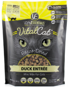 12oz Vital Essentials Freeze Dried Mini Nibs Duck Cat
