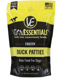 Vital Essentials Frozen Patties Dog Food Duck 6lbs