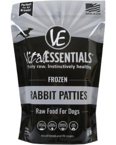 Vital Essentials Frozen Patties Dog Food Rabbit 6lbs