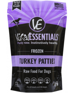 Vital Essentials Frozen Patties Dog Food Turkey 6lbs