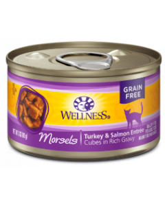 Wellness Morsels Turkey Salmon Entree Canned Cat Food 3oz