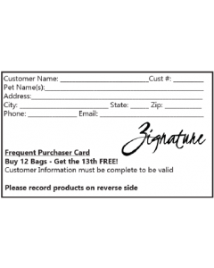 Frequent Buyer Card Zignature