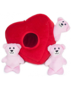 Zippy Paws Heart Burrow with Teddy Bears Valentine Dog Toy
